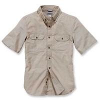 Fort Solid Short Sleeve Dark Tan Chambray Shirt Heren