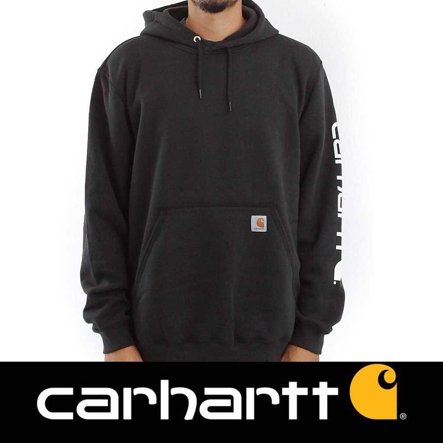 Midweight Sleeve Logo Hooded Sweatshirt Black Heren