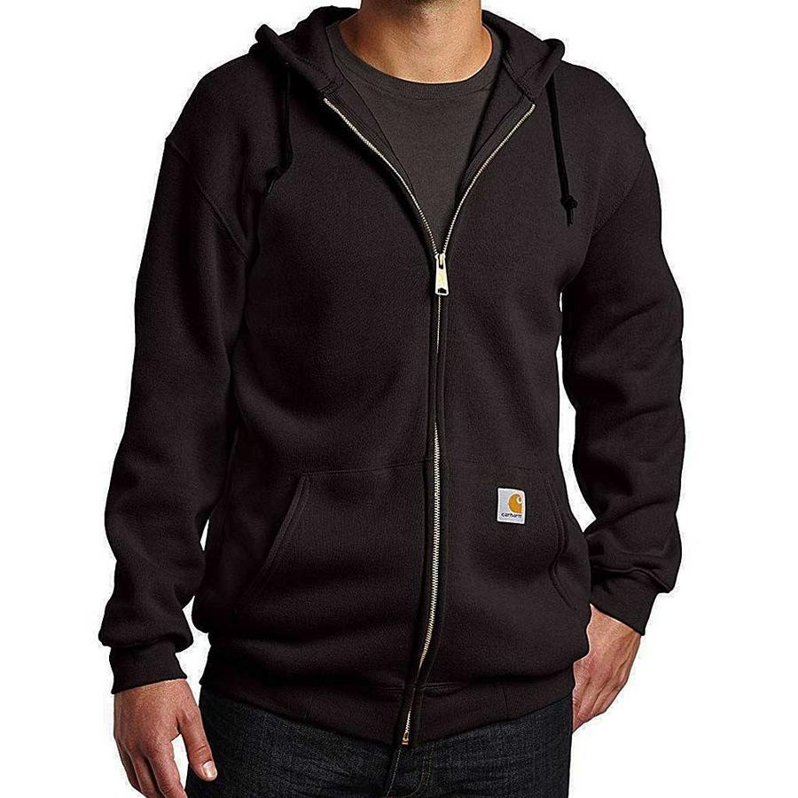 Midweight Zip Hooded Sweatshirt Zwart Heren