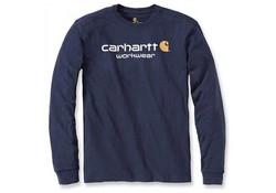 Carhartt Core Logo Navy Long Sleeve T-Shirt Heren
