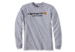 Carhartt Core Logo Heather Grey Long Sleeve T-Shirt Heren