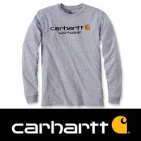 Core Logo Heather Grey Long Sleeve T-Shirt Heren