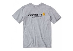 Carhartt Core Logo Heather Grey S-S T-Shirt Heren