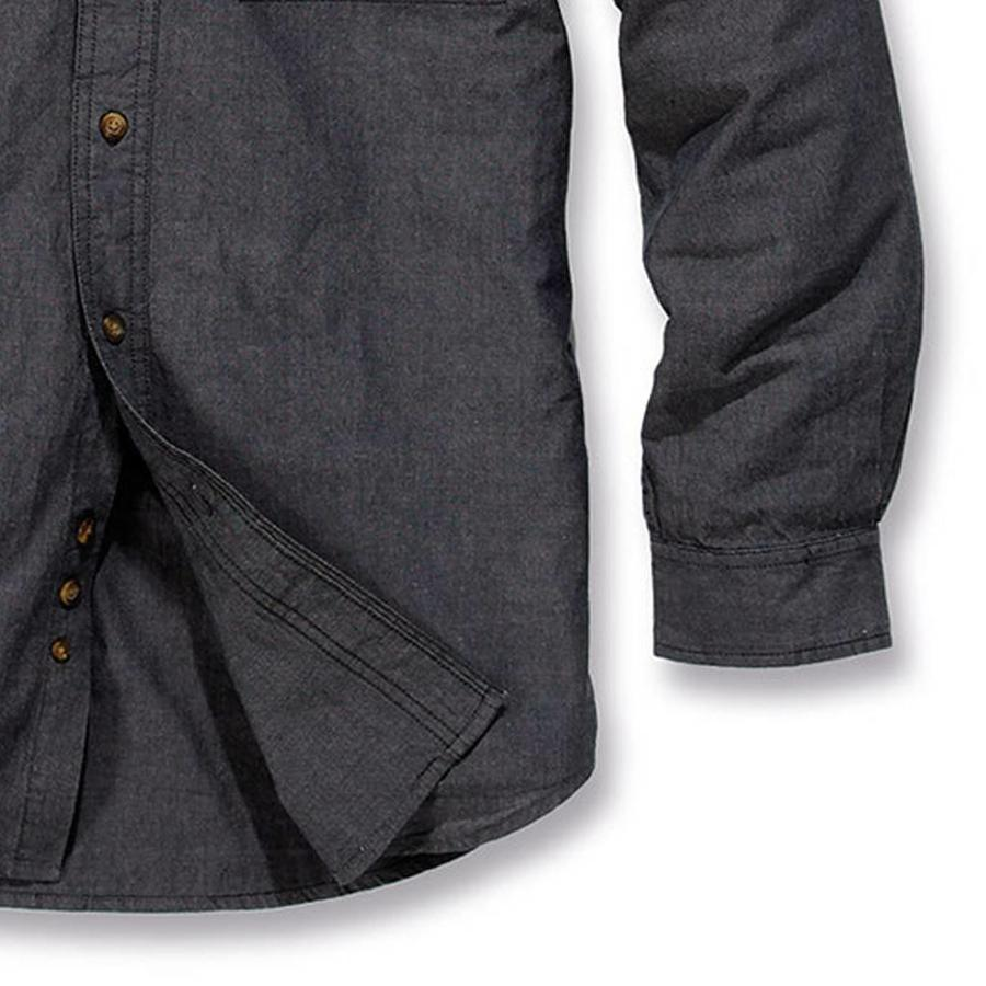 Long Sleeve Fort Solid Black Chambray Shirt Heren