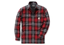Carhartt Hubbard Sherpa Lined Shirt Jacket Dark Crimson Heren