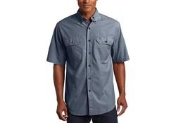 Carhartt Fort Solid Short Sleeve Denim Blue Chambray Shirt Heren