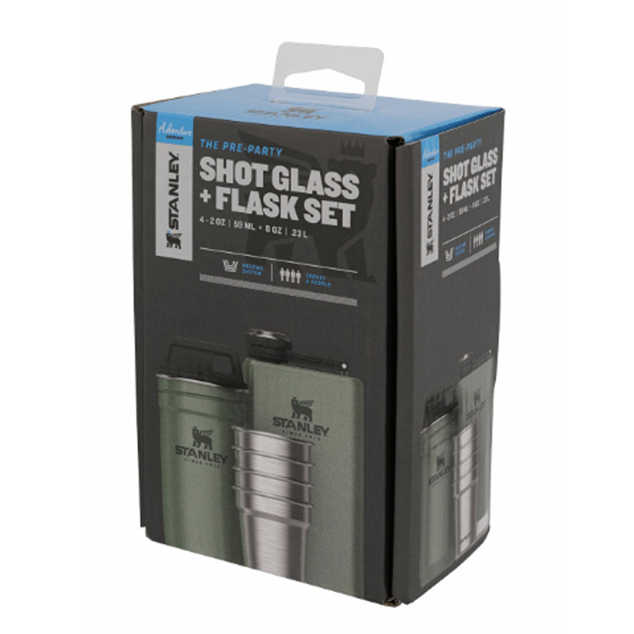 Adventure Steel Shot Flask Hammertone Green Cadeau-set