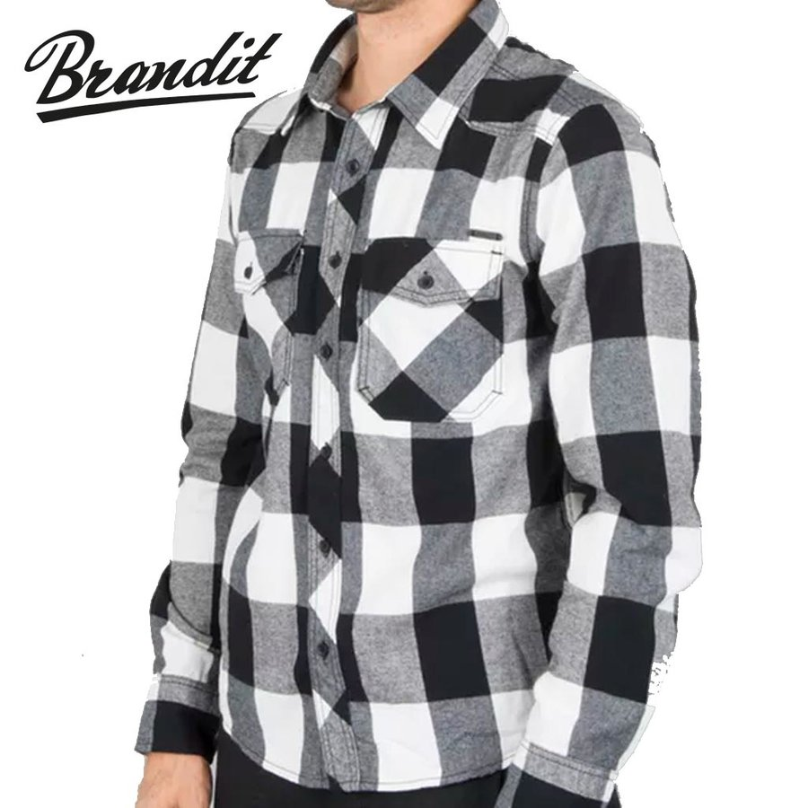 Check Shirt White-Black Flanel Overhemd Heren