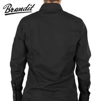 Slim Fit T-Shirt Black Overhemd Heren