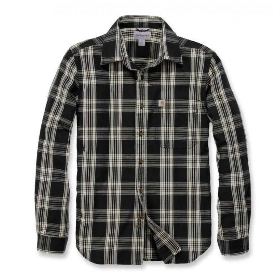Essential Open Collar Zwart Plaid Overhemd Heren