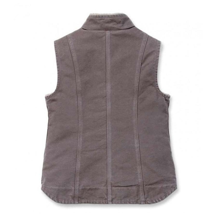Sandstone Mock Neck Vest Taupe Grey Dames