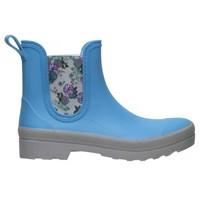 4200 SEBS Blauw met Bloemen Enkellaarzen Dames