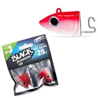 Black Minnow 2 Jigheads 120 Off Shore 25g Gram Red Kunstaas