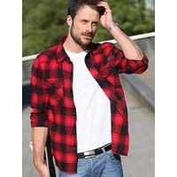 Check Shirt Rood Zwart Overhemd Heren