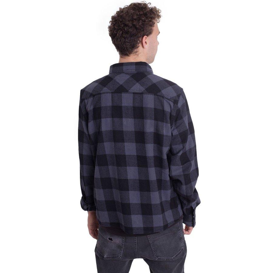 Check Shirt Zwart Grijs Flanel Overhemd Heren