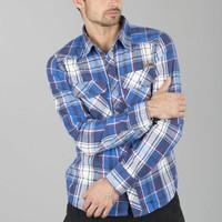 Check Shirt Navy Flanel Overhemd Heren