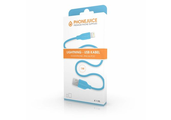 PhoneJuice Lightning kabel 1m - Blauw