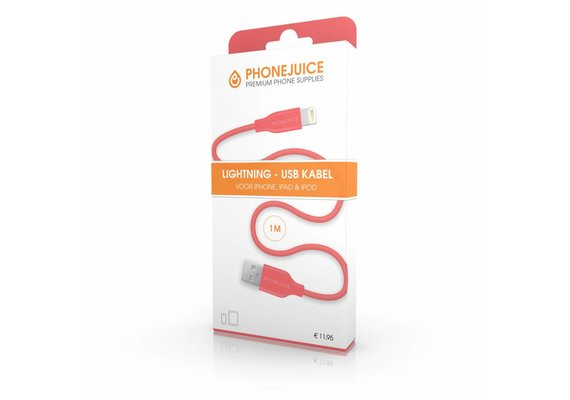 PhoneJuice Lightning kabel 1m - Roze