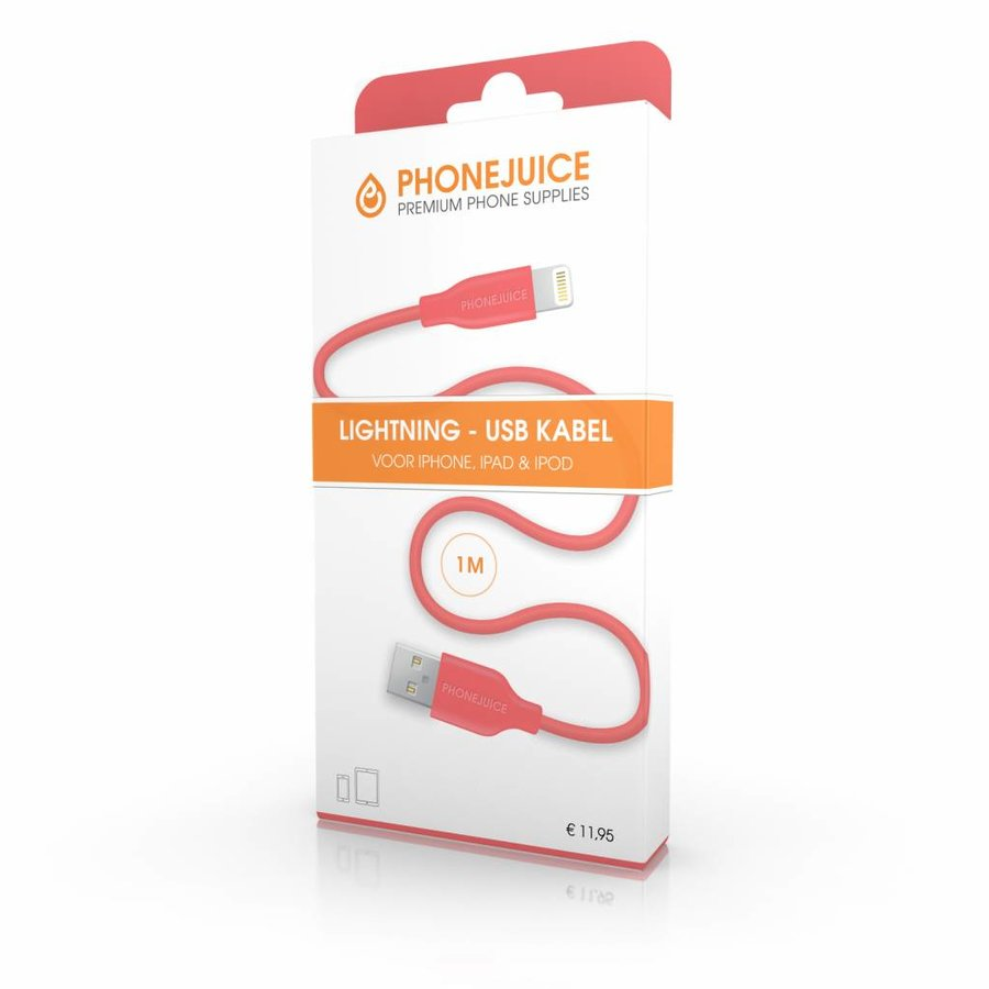 1 meter lange iPhone 5 / 6 / 7 / 8 / X / iPad lightning kabel – Roze