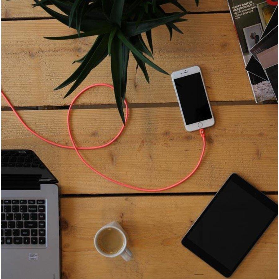 3 meter lange iPhone 5 / 6 / 7 / 8 / X / iPad lightning kabel – Roze
