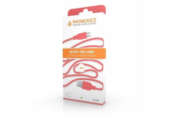 PhoneJuice Micro USB kabel 3m - Roze
