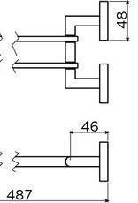 Flat porte-serviette double, barres amovible