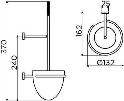 Slim toiletborstelhouder, wandmontage