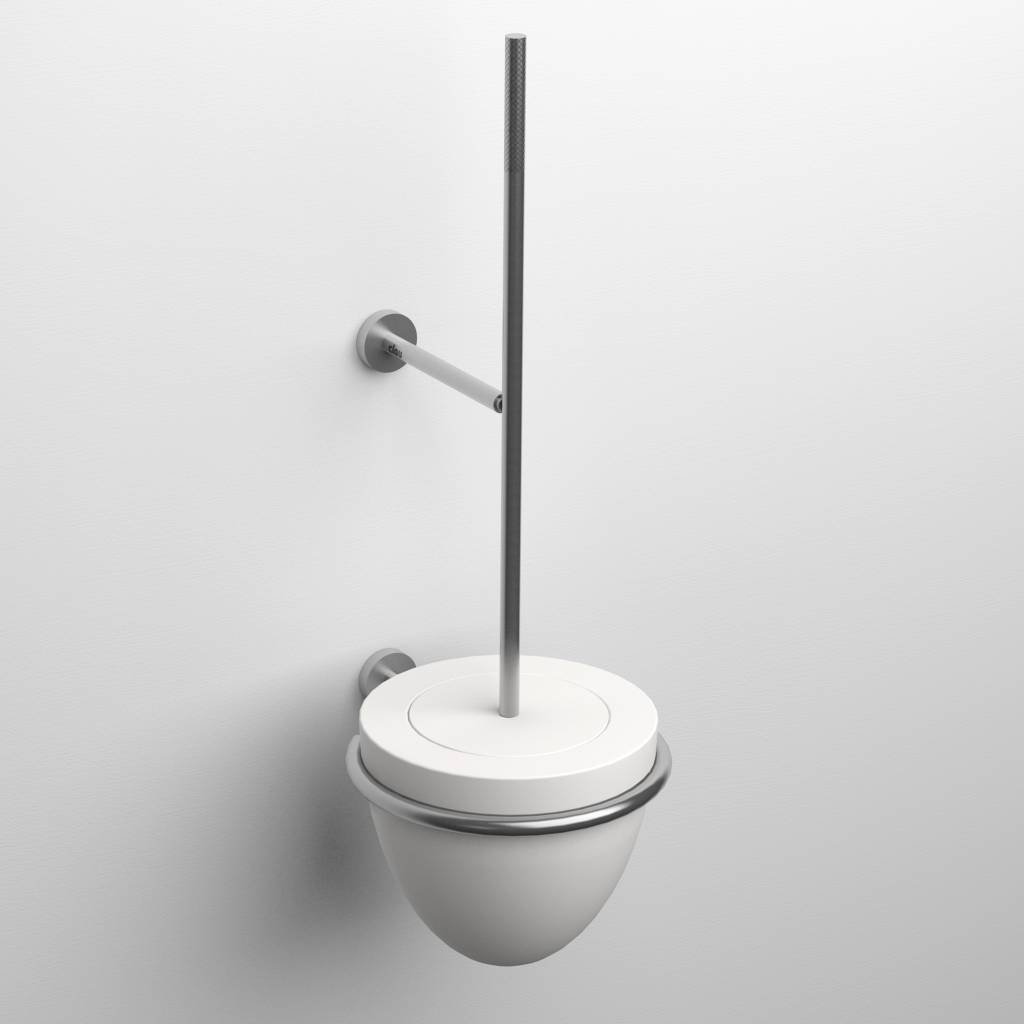 Slim toilet brush holder, wall mounted