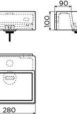 New Flush 1 lave-mains avec tablette couvre-bonde