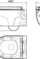 Hammock randloze wandtoilet 49cm met zitting en deksel