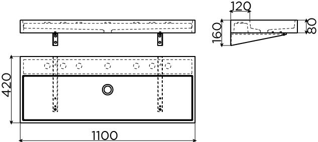 Wash Me washbasin 110 cm concrete - outlet -60%