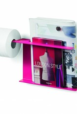 Piegà toiletrolhouder met tijdschrifthouder, fuchsia - uitverkoop -60%