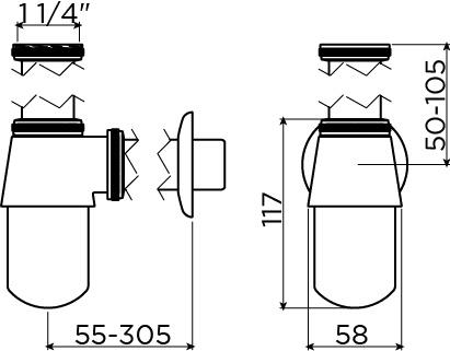Flush bekersifon t.b.v Flush 6, chroom