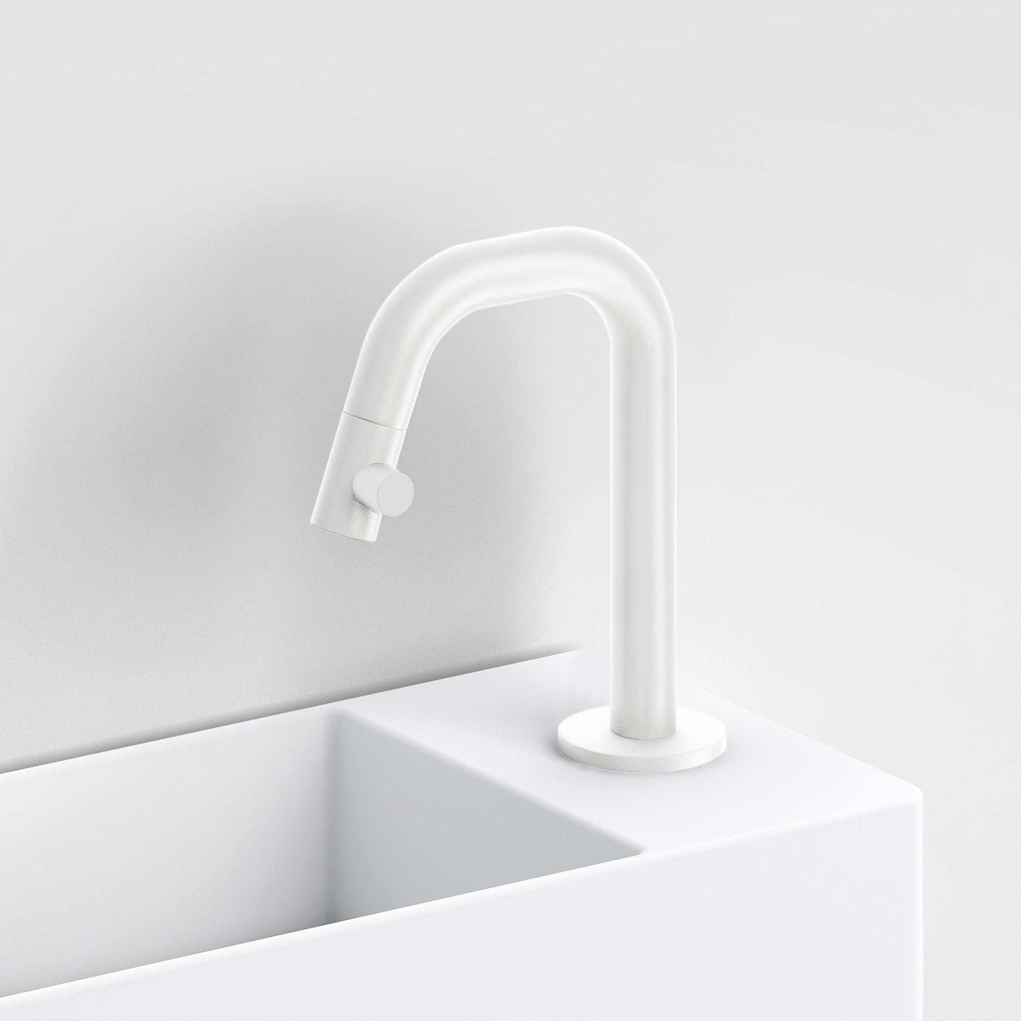 Kaldur Blanc mat robinet eau froide Kaldur et set de vidage