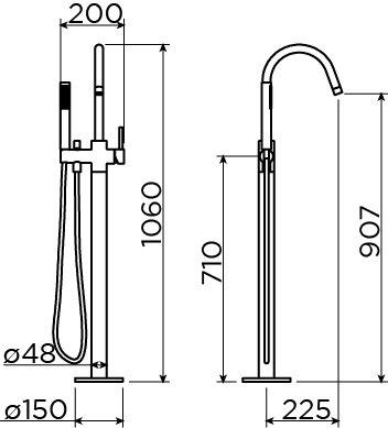 Xo freestanding bathtub mixer type 1 black