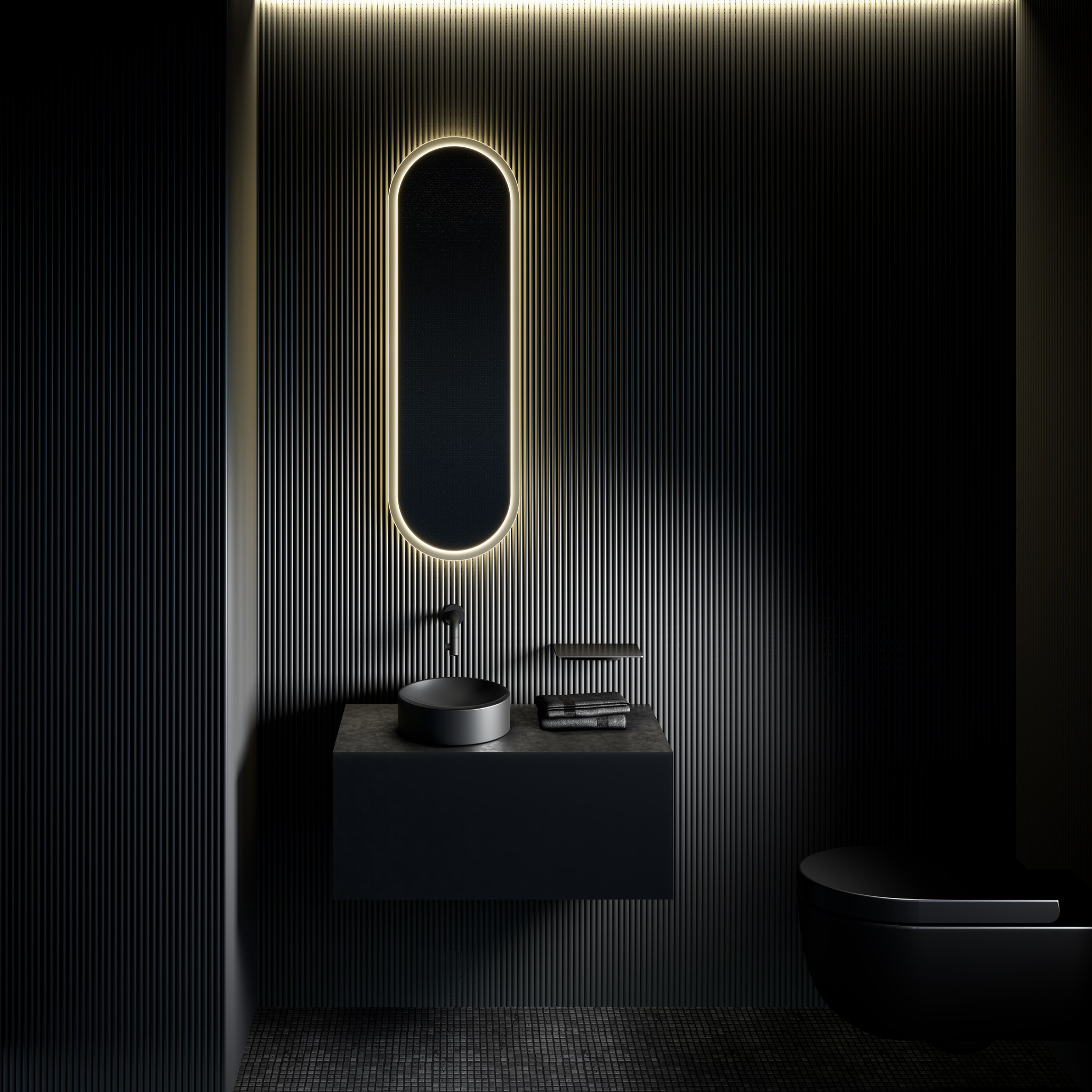 Look at Me oval mirror, satin edge, with lighting