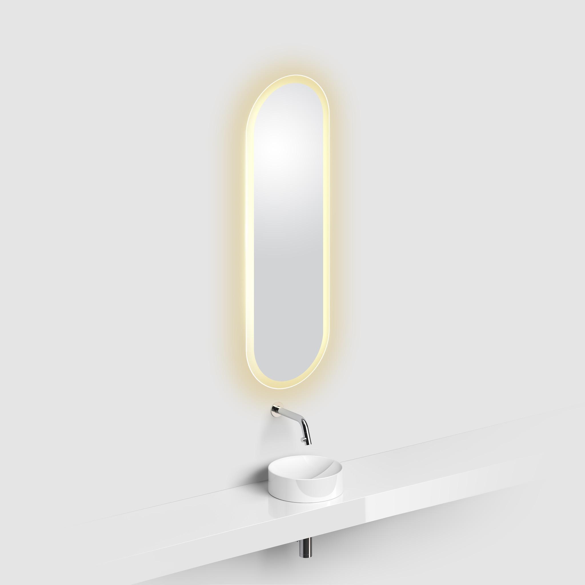 Look at Me miroir ovale, bord satiné, avec éclairage