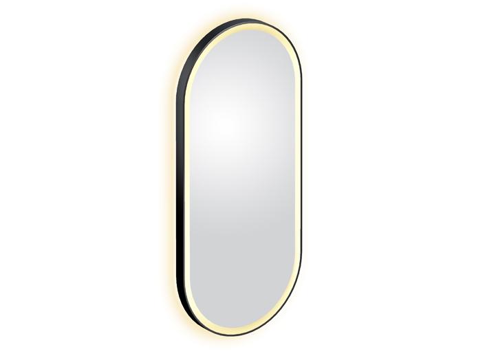 Look at Me oval mirror, matt black, with lighting