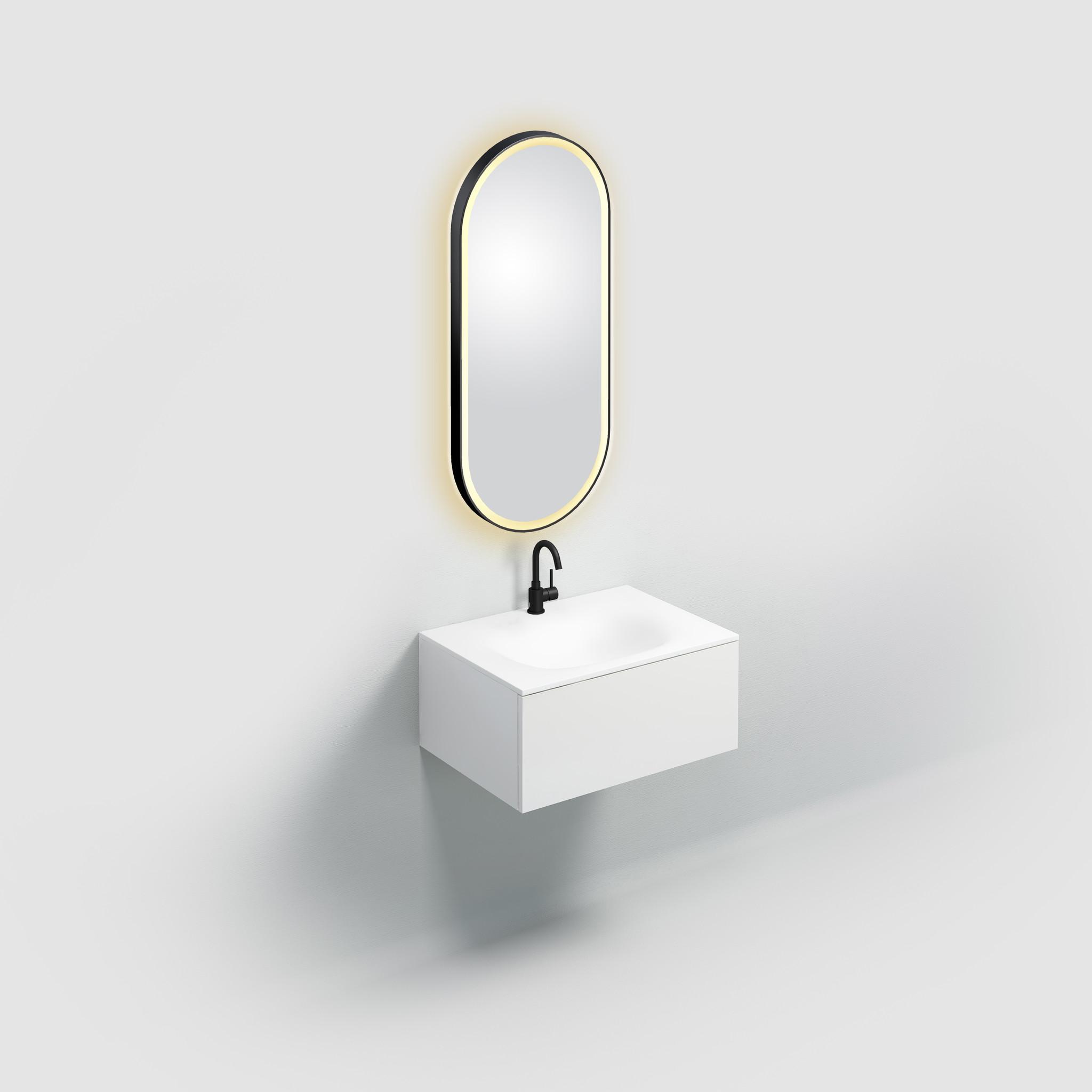 Look at Me ovale spiegel, mat zwart, met verlichting