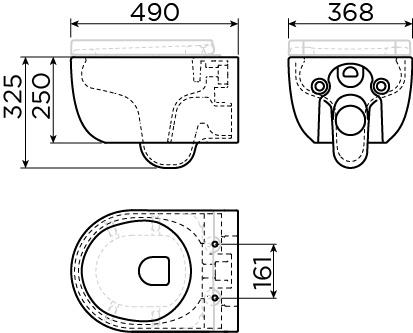 Hammock randloze wandtoilet 49cm zonder zitting en deksel