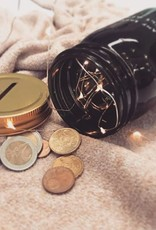 Book Jar: So many books (black, gold-coloured lid)