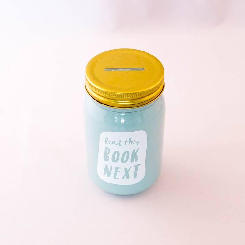 Book Jar:  Read this book next (mintgroen, goudkleurige deksel)