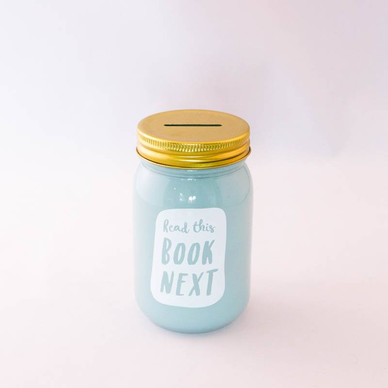 Book Jar: Read this book next  (minty green, gold-coloured lid)