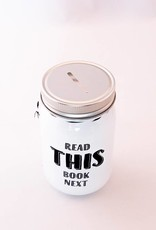 Book Jar: Read this book next (white, silver-coloured lid)