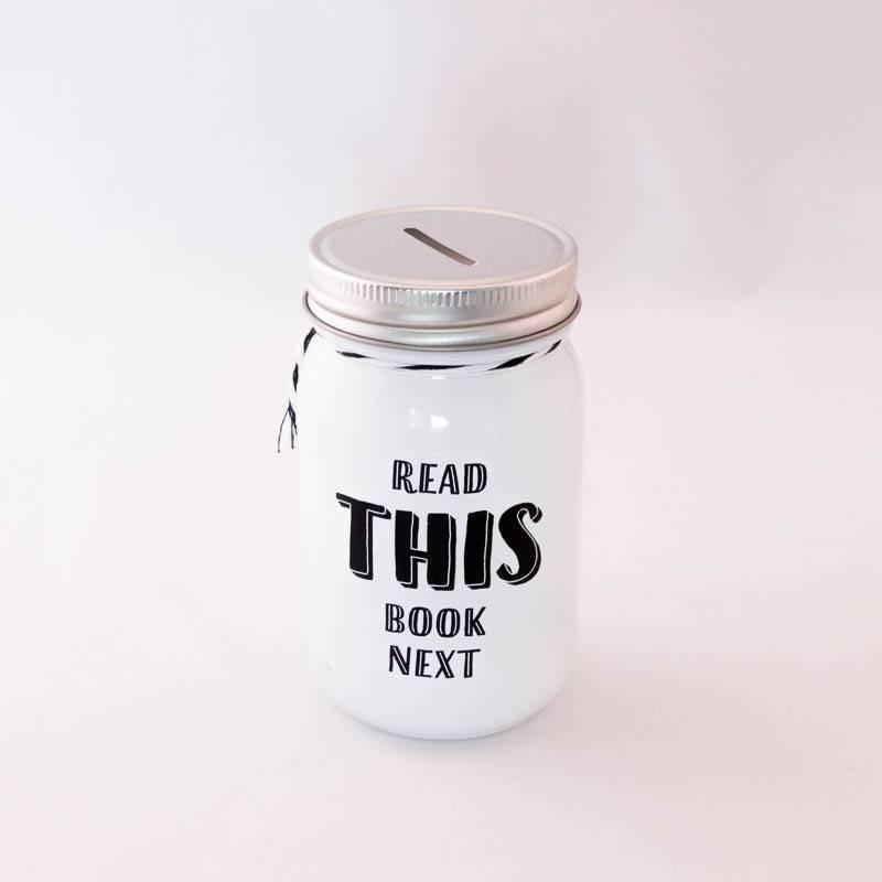 Book Jar: Read this book next (wit, zilverkleurige deksel)