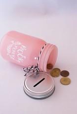 Book Jar: Book Money (roze, zilverkleurige deksel)