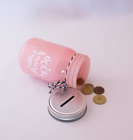 Book Jar: Book Money (pink, silver-coloured lid)