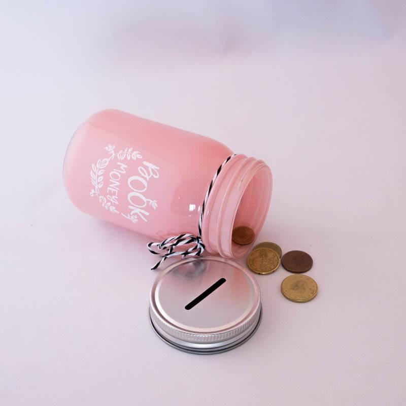 Book Jar: Book Money (pink, silver-coloured lid)
