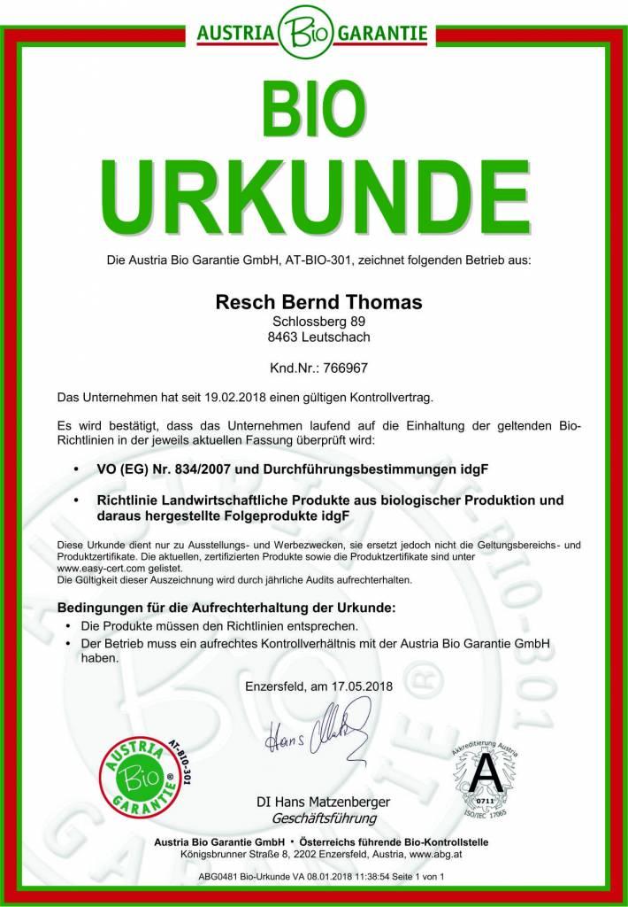 RESCH Bio-Kürbiskernöl 1 Liter Dose