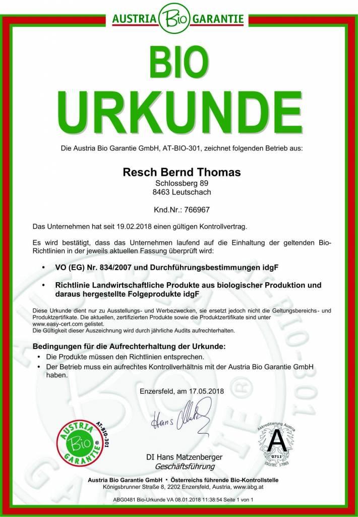 RESCH BIO Leinöl (AT BIO 301) 0,25 ltr. Glasflasche kaltgepresst